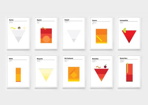 10 minimalist cocktail drink posters