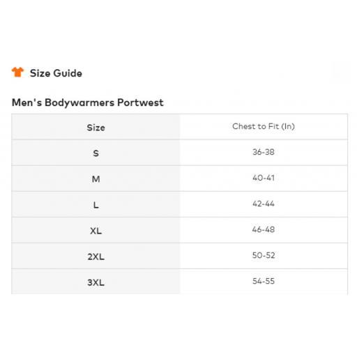Portwest Shetland Bodywarmer - Size Guide.jpg